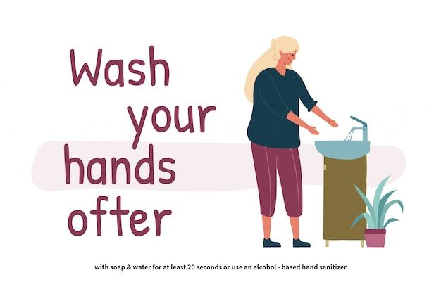 Mulher lavando as mãos. jovem de perspectiva em pé no lavatório. mãos limpas. cuidados pessoais diários. prevenção covid-19. ilustração em estilo cartoon plana.