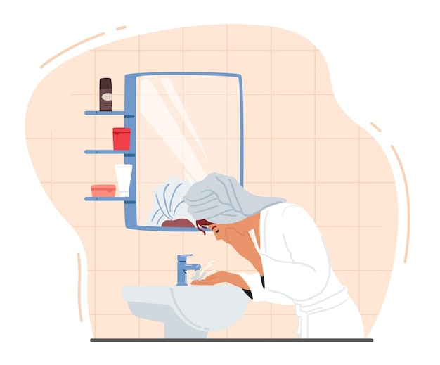 Mulher lavando o rosto stand frente do espelho e pia no banheiro. menina de toalha e roupão aplicando procedimentos de cuidados com a pele