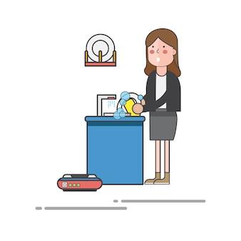Mulher, lavando, pratos