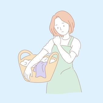 Mulher lavando roupa e sentindo dor no ombro na ilustração do estilo de linha