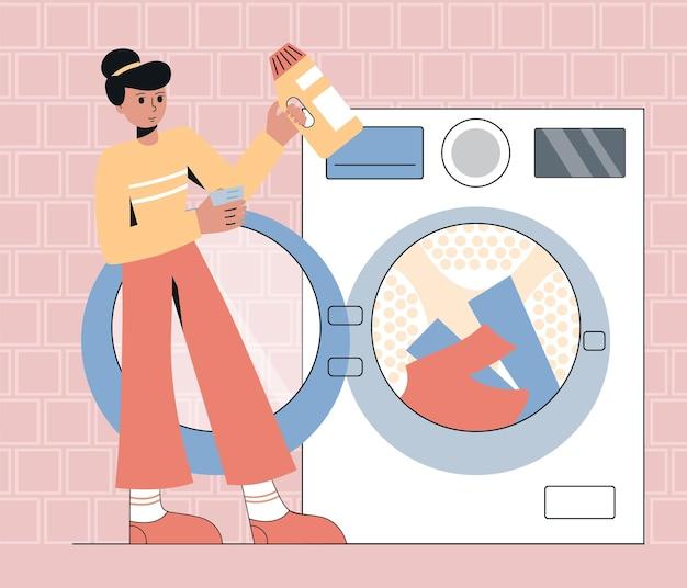 Mulher lavando roupa personagem feminina com gel de lavagem carregando máquina de lavar vetor plana