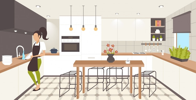 Mulher lavar pratos housewife pratos conceito lavar louça menina avental cozinha housework moderno interior comprimento total horizontal