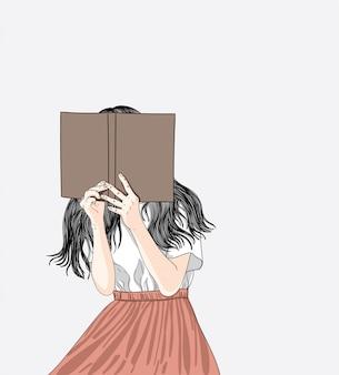 Mulher lê seu livro favorito em sua casa