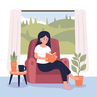 Mulher lendo cenas de estilo de vida hygge