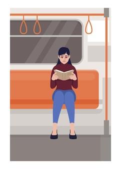 Mulher lendo em ilustração vetorial plana de trem. leitora segurando o livro no transporte público. aluno com caderno senta no transporte. personagens de desenhos animados 2d de passageiros do metro para uso comercial