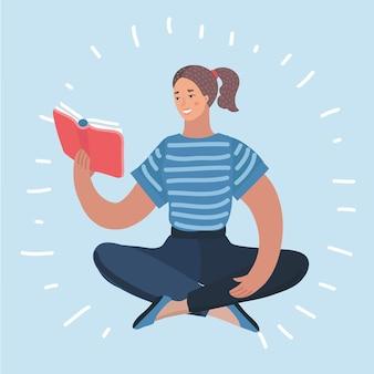 Mulher lendo ilustração do ícone de livro didático