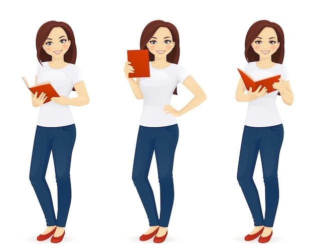 Mulher lendo livro com ilustração vetorial isolada