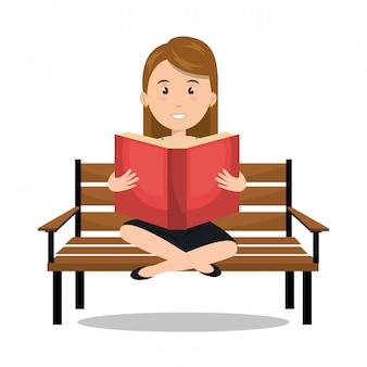 Mulher lendo livro didático r ícone