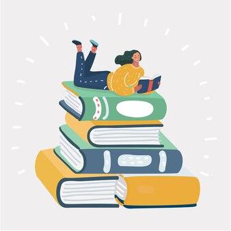 Mulher lendo livro em uma grande pilha de livros