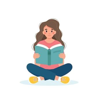 Mulher lendo livro enquanto está sentada conceito do dia de aprendizagem e alfabetização