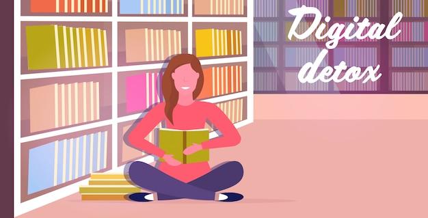 Mulher lendo livro passar tempo sem dispositivos conceito de desintoxicação digital garota abandonando gadgets