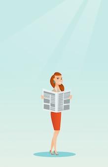 Mulher, lendo um jornal