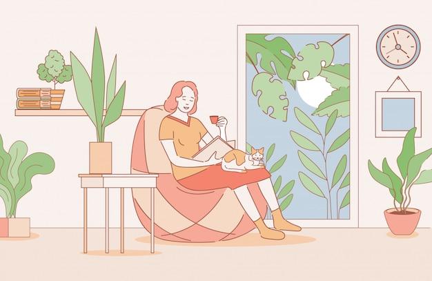 Mulher lendo um livro na ilustração de contorno dos desenhos animados de apartamentos. fim de semana relaxante, passe um tempo em casa.