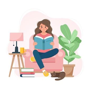 Mulher lendo um livro sobre uma cadeira, relaxando em casa. ilustração em vetor fofa em estilo simples