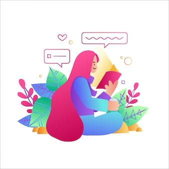 Mulher, ler um livro, uma mulher sentada, usando um telefone móvel