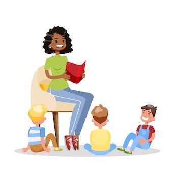 Mulher leu o livro para o grupo das crianças. as crianças ouvem contos de fadas. voluntário adulto. ilustração dos desenhos animados