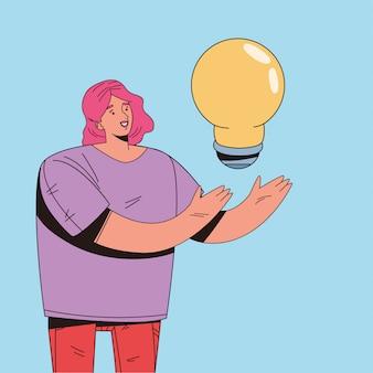 Mulher, levantamento, bulbo, luz, personagem, ilustração, desenho