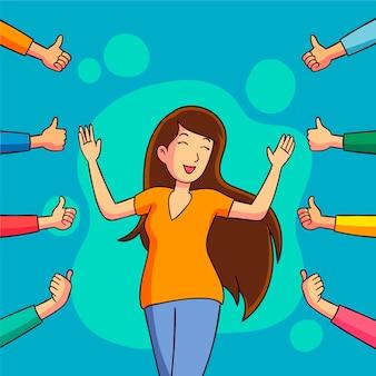 Mulher levantando polegares do público