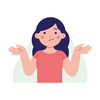 Mulher, levante, dela, mão, com, confuso, rosto