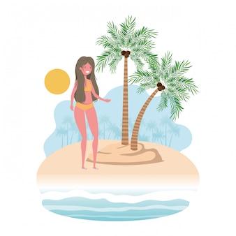 Mulher, ligado, ilha, com, swimsuit, e, palmas