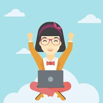 Mulher, ligado, nuvem, com, laptop