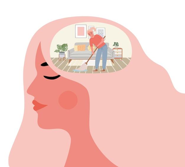 Mulher limpa a mente. limpeza mental no quarto dentro da cabeça. estilo de vida com saúde e bem-estar. auto-aperfeiçoamento e conceito de vetor de crescimento pessoal. ilustração psicoterapia mulher, intelecto mental humano