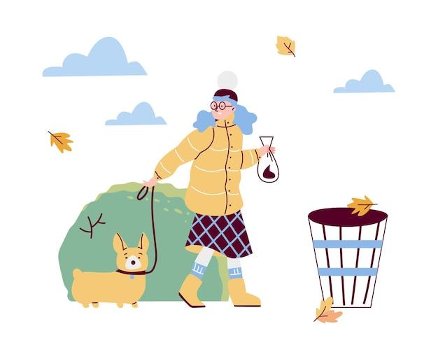 Mulher limpa fezes de seu animal de estimação no parque de outono em estilo simples de desenho animado