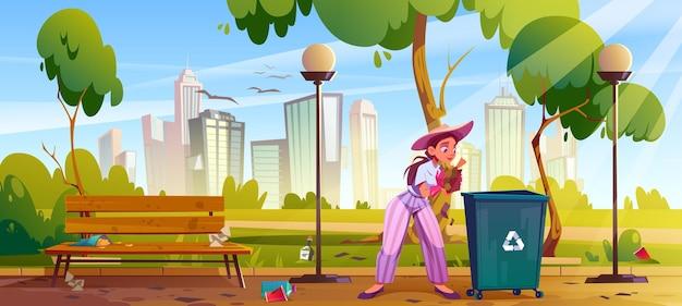 Mulher limpa parque da cidade garota coleta lixo em jardim público