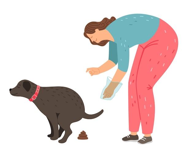 Mulher limpa resíduos e lixo de cachorro
