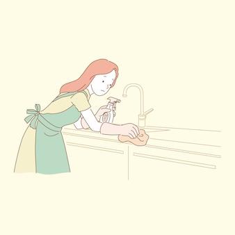 Mulher limpando bancada de cozinha em ilustração de estilo de linha