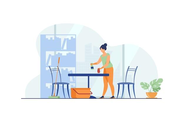 Mulher limpando e lavando a casa.
