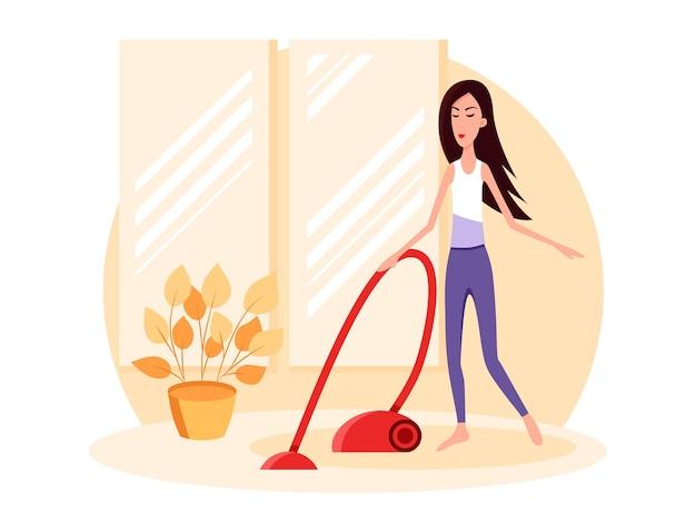 Mulher limpando o quarto. vista frontal. ilustração plana dos desenhos animados de vetor de cor. fique em casa.