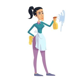 Mulher, limpeza, desenho liso de dona de casa perfeccionista. garota do signo de virgem. pronto para usar o modelo de caracteres 2d para comercial, animação, design de impressão. herói cômico isolado
