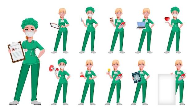 Mulher linda médica com onze poses