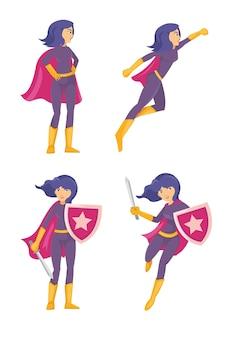 Mulher linda super-herói com escudo