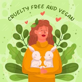 Mulher livre de crueldade com animais abraçando coelhos