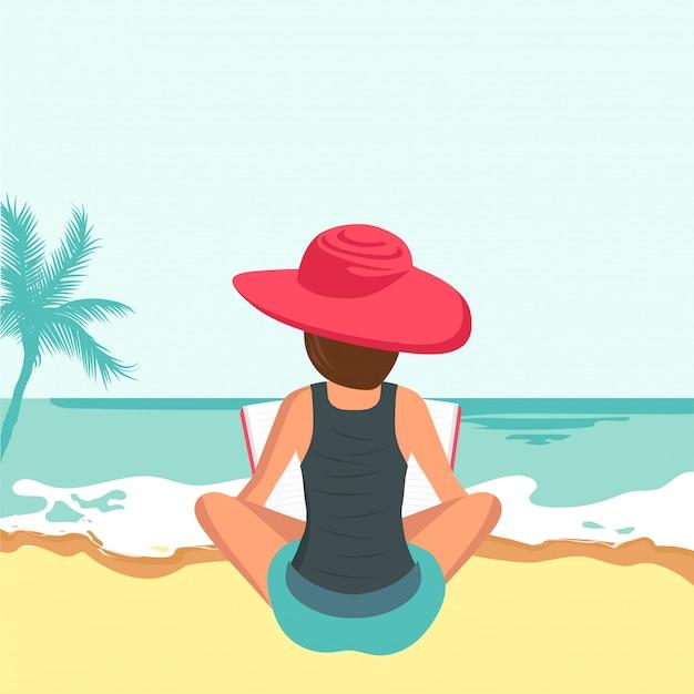 Mulher, livro leitura, praia