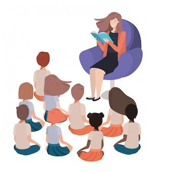 Mulher, livro leitura, sofá, com, crianças