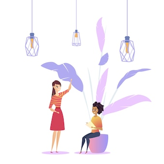 Mulher, local trabalho, sótão, modernos, planta, coworking