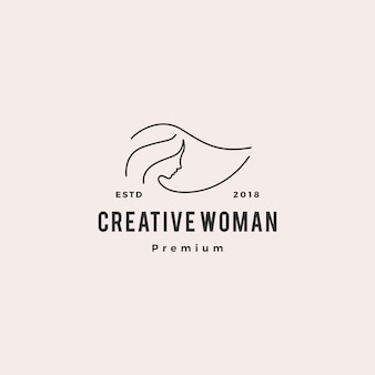Mulher logo vector ícone ilustração linha contorno monoline