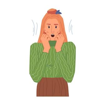 Mulher loira assustada em estresse senhora apavorada