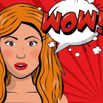 Mulher loira atraente wow bolha do discurso pop art quadrinhos