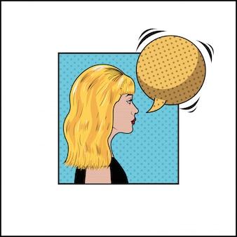 Mulher loira com estilo de pop art de bolha do discurso
