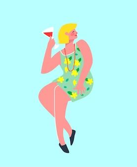 Mulher loira sozinha festa engraçada e colorida bebendo vinho no bar. de menina.