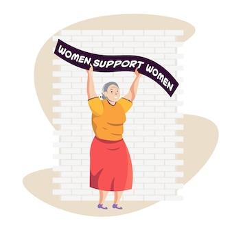 Mulher madura ativista segurando cartaz movimento de empoderamento feminino conceito de poder feminino ilustração vetorial de corpo inteiro