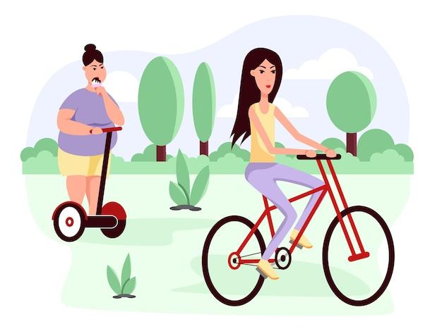 Mulher magra e gorda andando de scooter e bicicleta obesidade estilo de vida saudável e pouco saudável