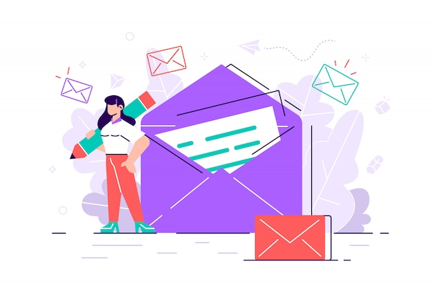 Mulher mantém correio. conversando. ilustração de negócios. processo de trabalho