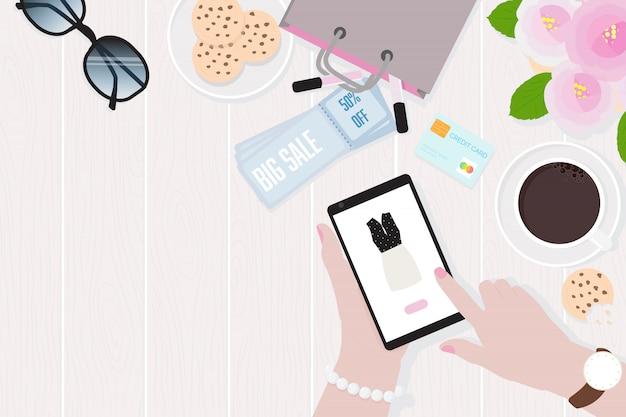 Mulher, mãos, segurando, tablete móvel