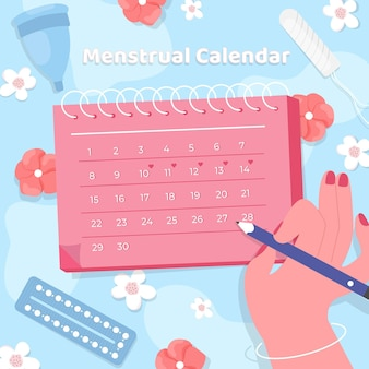 Mulher marcando no calendário menstrual