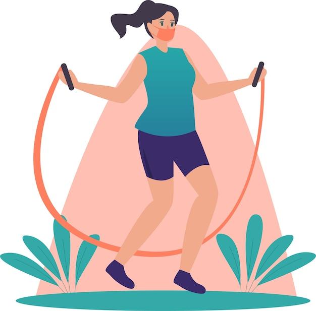Mulher mascarada fazendo exercícios usando corda de pular em casa ilustração